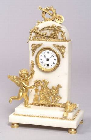 Louis XVIstyle Gilt Bronze and White Marble Mantel Timepiece