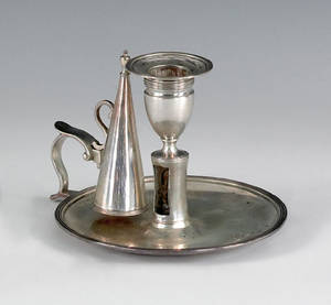 Georgian silver chamberstick and snuffer ca 17941795