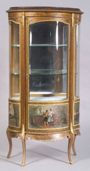 Louis XV Style Polychrome Painted and Giltmetal Mounted Vernis Martin Vitrine