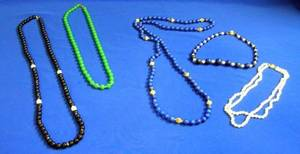 Five Hardstone and Pearl Beaded Necklaces