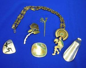Group of Mexican Sterling and Mixed Metal Accessories