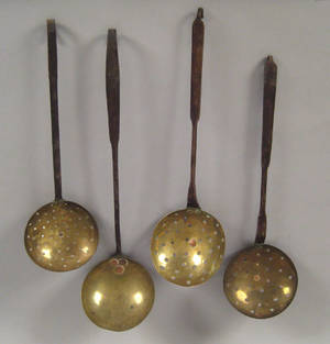 Four Pennsylvania wrought iron and brass utensils ca 1800
