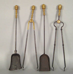Two pair of wrought iron and brass Federal firetools ca 1815