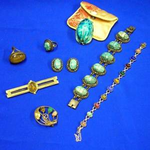 Eight Pieces of Scarab Jewelry