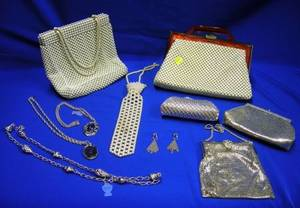 Five Whiting and Davis Mesh Purses Three Necklaces and a Pair of Earrings