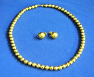 14kt Gold Bead Necklace and a Pair of Earrings