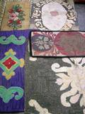 Five Floral and Scroll Pattern Hooked Rugs