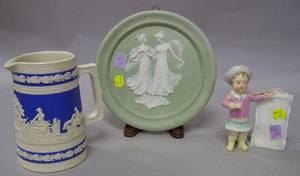 Copeland Salt Glazed Pitcher a Green Bisque Plaque and a Continental Porcelain Figural