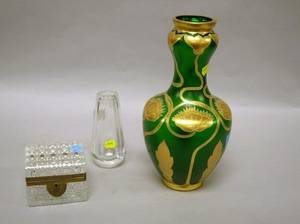 Giltmetal Mounted Colorless Cut Glass Lidded Box an Etched Colorless Glass Vase and a Gilt Enamel Decorated Green Glass Vase