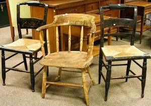 Windsor Ash Captains Chair and Two Hitchcocktype Painted Side Chairs