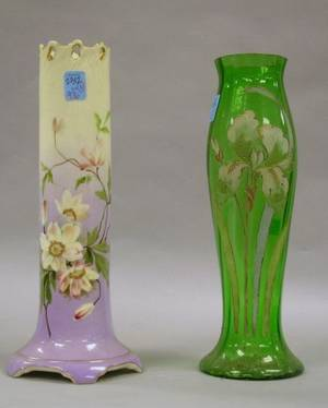 Enamel Floral Decorated Green Glass Vase and a Carlsbad Handpainted Floral Decorated Porcelain Vase
