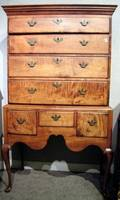 Queen Anne Maple and Tiger Maple Highboy