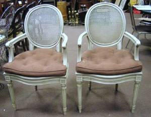 Pair of Louis XV Style Caned Painted Carved Wooden Armchairs