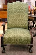 Georgianstyle Upholstered Carved Mahogany Easy Chair