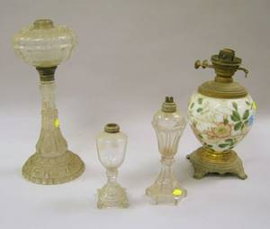 19th Century Pressed Glass Kerosene Table Lamp a Victorian Floral Decorated Glass Kerosene Lamp and Two Colorless Sandwich Glass Whal
