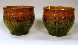 Pair of Majolica Glazed Art Pottery Jardinieres
