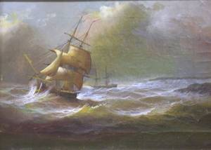 Framed Oil View of a Stormtossed Ship