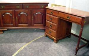 Pennsylvania House Colonial Revival Maple Sideboard and a Colonial Revival Maple Flattop Youths Desk