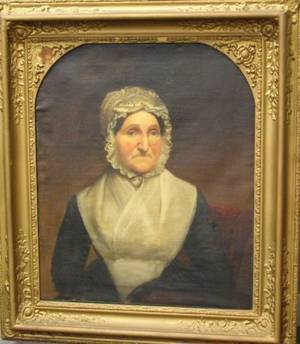 Framed Oil Portrait of a Woman in a Lace Trimmed Cap