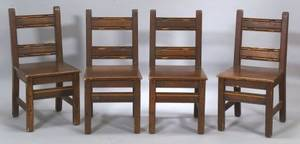 Four Arts  Crafts Wooden Side Chairs