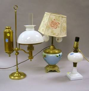 Heinrichs Brass Student Lamp Opaque Pressed Glass Whale Oil Lamp and a Victorian BrassMounted Floral Decorated Glass Kerosene Table