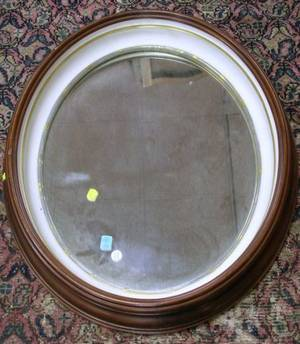 Oval Walnut Framed Mirror