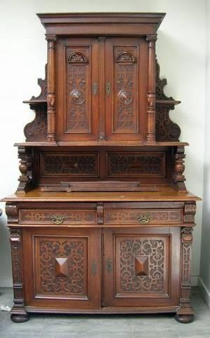 Victorian Italian Renaissance Carved Oak Sideboard
