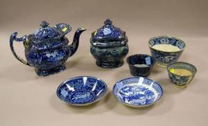 Seven Pieces of Early 19th Century English Blue and White Staffordshire Teaware