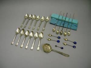 Set of Five Tiffany  Co Sterling Silver Iced Tea Spoons and a Set of Twelve Tiffany  Co Sterling Silver Castilian Pattern Teaspoons