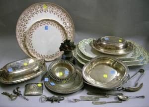 Group of Assorted Sterling Silver and Silver Plated Hollowware and Flatware Porcelain and Cast Iron