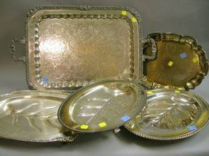 Five Assorted Silver Plated Serving Trays