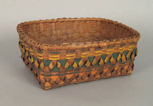 Maine Indian woven basket late 19th c