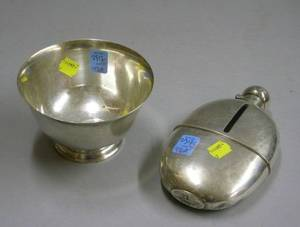 English Sterling Silver Flask and a Small Tiffany  Co Sterling Silver Footed Bowl