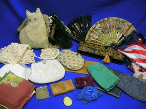 Group of Vintage Scarves Purses Fans Lace Jabots and Other Accessories