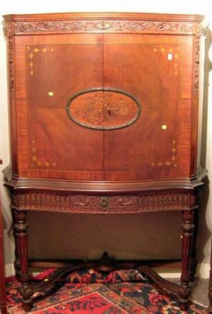 Louis XVI Style Paint Decorated Carved Mahogany and Kingwood Veneer Serpentine TwoDoor Side Cabinet