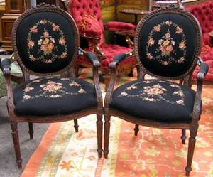 Pair of Louis XVI Style Needlepoint Upholstered Carved Mahogany Armchairs