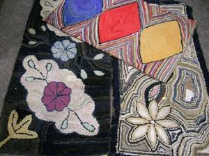 Three Abstract and Floral Pattern Hooked Rugs