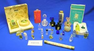 Lot of Assorted Perfume Bottles Powders Compacts Atomizers Etc
