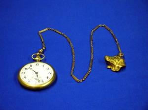Illinois Goldfilled Open Face Pocket Watch with Dog Head Fob