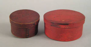 Two red painted bentwood boxes 19th c