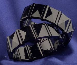 Pair of Antique Black Onyx Bangle Bracelets Tiffany  Co
