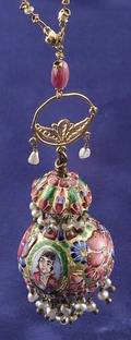 Enamel Gemset and Seed Pearl Pendant Necklace India