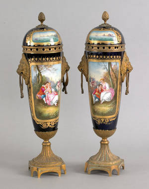 Pair of Sevres cobalt lidded urns late 19th c