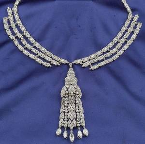 Art Deco Platinum and Diamond Pendant Necklace