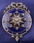 Antique Enamel and Diamond PendantBrooch