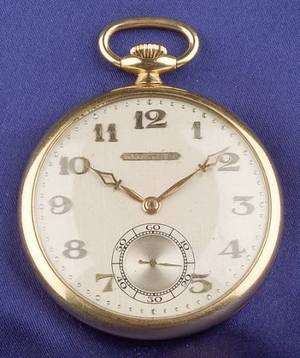 Art Deco 18kt Gold Open Face Pocket Watch Tiffany  Co