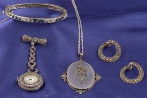 Three Sterling Silver and Marcasite Jewelry Items