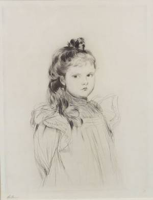 Paul Csar Helleu French 18591927 Portrait of a Young Girl