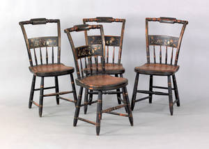 Set of four painted plank seat chairs 19th c