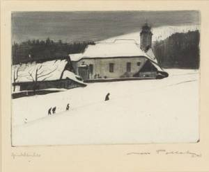 Max Pollak Austrian 18861950 Lot of Two Etchings Winter Churchyard